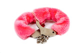 pink fur handcuffs isolated