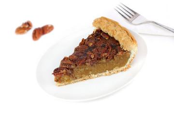 Pecan Pie Slice on White Background