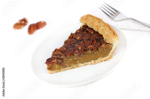 Pecan Pie Slice on White Background