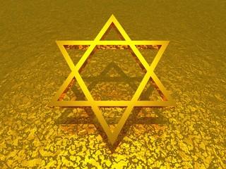 3D gold Davidstern auf goldener Struktur