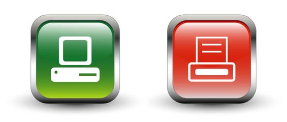PC & Printer Sign Square Icons