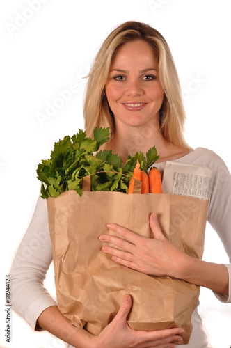 blond girl with paperbag