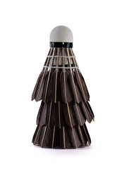Stack of black Badminton shuttlecock over white background