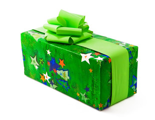 Chrismas gift wrapped in green paper with bows