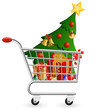 Shopping cart full of decoration and Christmas Tree