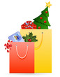 Christmas shopping bags with gifts