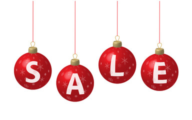 "Christmas baubles spelling out ""SALE"" (vector)"