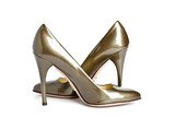 Beige-golden female new varnished shoes on high heel-stiletto poster