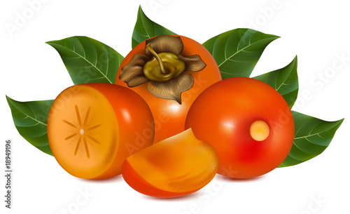 Photorealistic vector illustration. Persimmon with leaves.