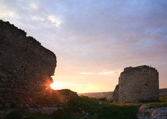 Crimean ancient fortress sunset view (Ukraine)