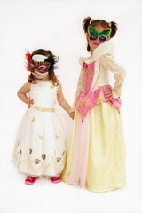 Two girls in costumes