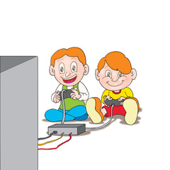 boys playing a video