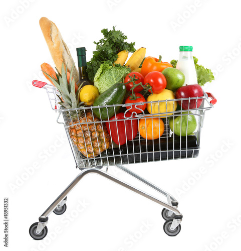 Tuinposter Boodschappen Full shopping trolley