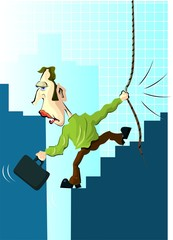 Illustration of a man climbing the graph using a rope