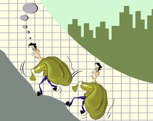 Illustration of men climbing the graph with bag