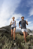 Couple preparing for a marathon poster