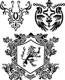 heraldic scroll and crest element