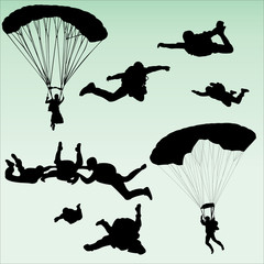parachutists silhouette collection - vector