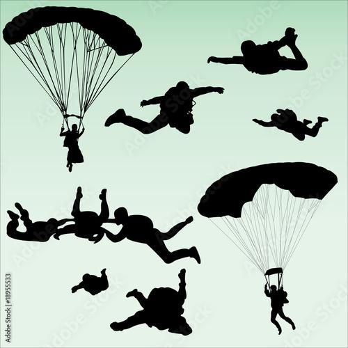 Fototapeta parachutists silhouette collection - vector