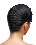 Elegant braid. Rear view of a modern hairstyle poster