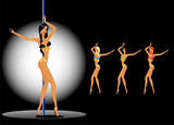 set of beautiful young women dancing a striptease