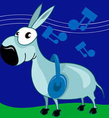 Illustration of a donkey hearing music