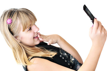 teenager girl with mobile phone