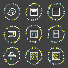 Home appliances web icons, colour dots series