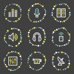 Media web icons, colour dots series