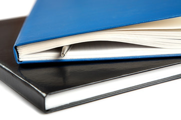 Two thick writing-books with a pen