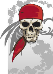 Pirate skull with red bandana background