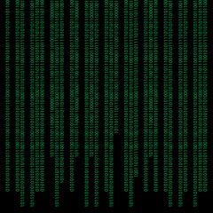Green digital binary code background - matrix technology