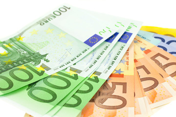 euro notes on white background