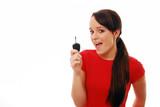 Fototapety Happy girl holding car key