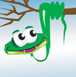 Illustration of a snake on a branch of tree