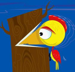 Illustration of woodpecker cutting the tree