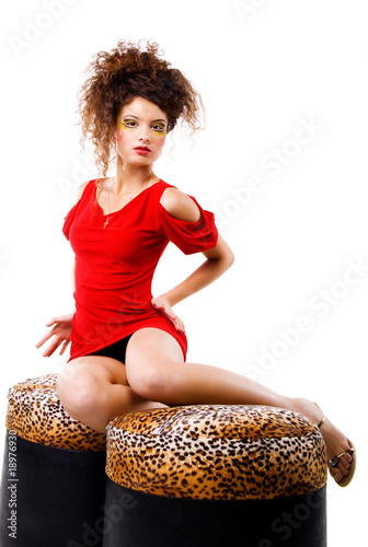 Elegance women on the pouffes