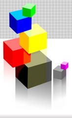 Illustration of different colour cubes
