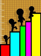 Illustration of managers climbing colourful graph