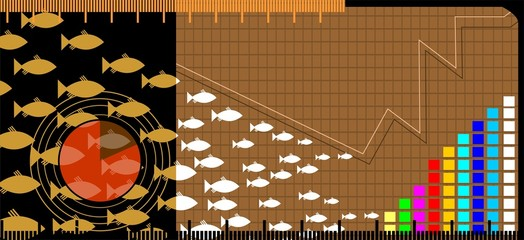 Illustration of group of fishes and graph