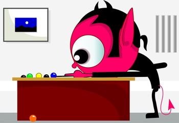 Illustration of fantasy of alien playing billiards