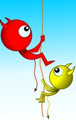 Illustration of fantasy of alien climbing through rope