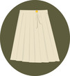 Illustration of white ladies skirt with white belt