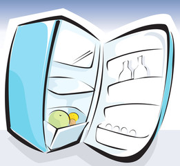 Illustration of a opened refrigerator