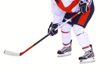 hockey player isolated on white background