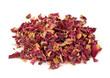 Rose petal tea isolated on the white background