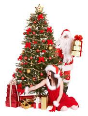 Christmas girl, santa clause and fir tree with gift box group.