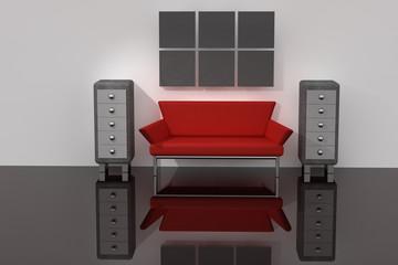 3d raum mit sofa