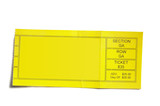yellow event ticket stub isolated on white background poster