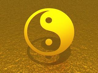 Ying Yang gold schwebend